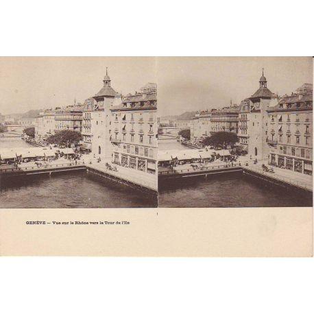 Suisse - Geneve - vue sur le rhone vers la Tour