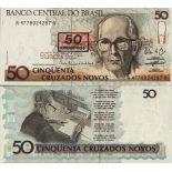Colección Billetes Brasil Pick número 223 - 50 Cruzeiro 1990