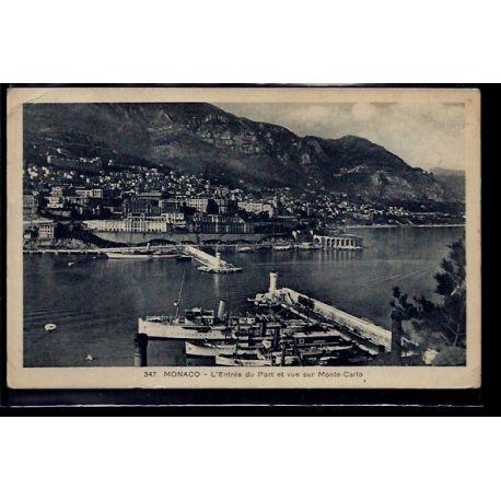 Monaco - L' entree du port et vue sur Monte-Carlo - Voyage - Dos divise