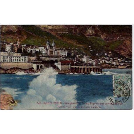 Monaco - Monte Carlo - Vue generale - Tir aux pigeons par un coup de mer - Voy
