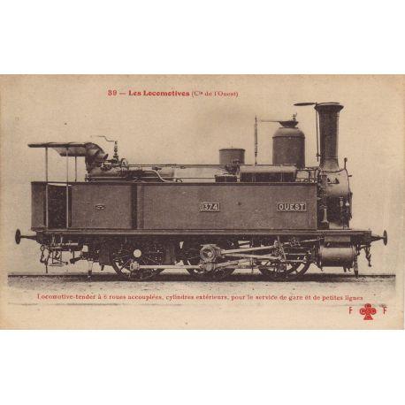 Locomotive-tender de la Cie de l'Ouest a 6 roues accouplees