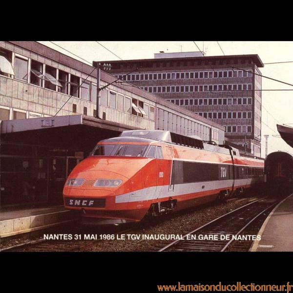 44 nantes le 31 mai 1986 le tgv inaugural en gare de nantes avant son depart pour le croisic. Black Bedroom Furniture Sets. Home Design Ideas