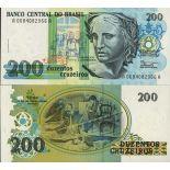 Billet de banque Bresil Pk N° 229 - 200 Cruzados