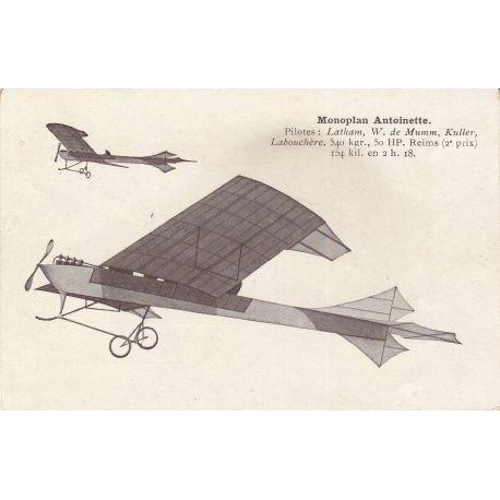 Monoplan Antoinette - Pilotes : Latham,De Munon...