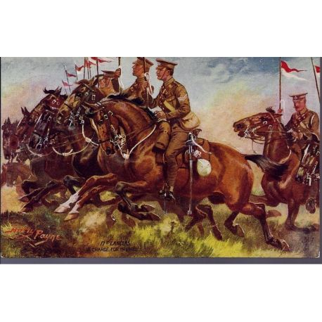 17st Lancers - A charge for this hill Illustree par Harry Payne - Carte n'ayan
