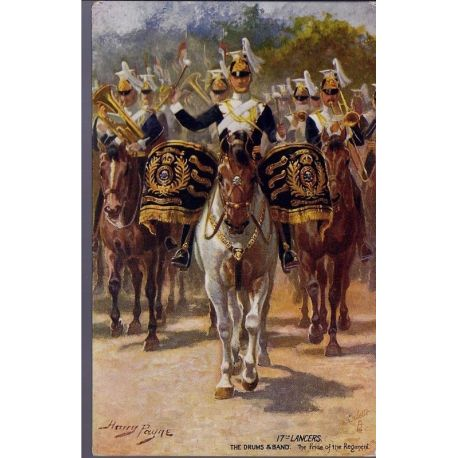17st Lancers - The drums and Band Illustree par Harry Payne - Carte n'ayant pa