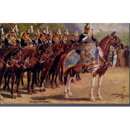 21st Lancers - The Band and Drums Illustree par Harry Payne - Carte n'ayant pa