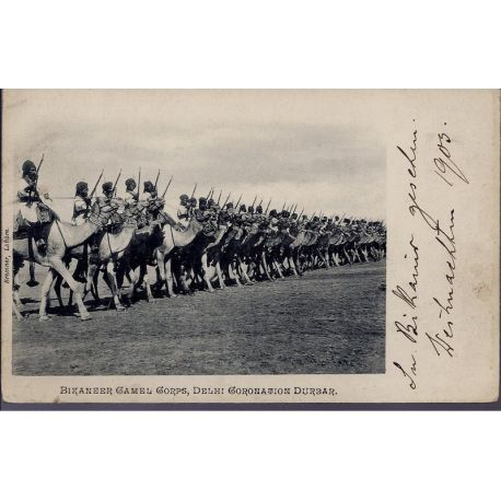 Bikaneer Camel Corp Delhi Coronation Durbar 1905 Carte n'ayant pas voyage