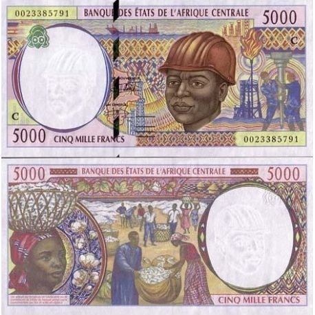Billet de collection Afrique Centrale CONGO Pk N° 104 - 5000 Francs