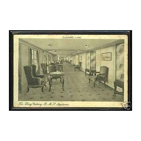 Cunard Line - The long gallery - HMS Aquitania
