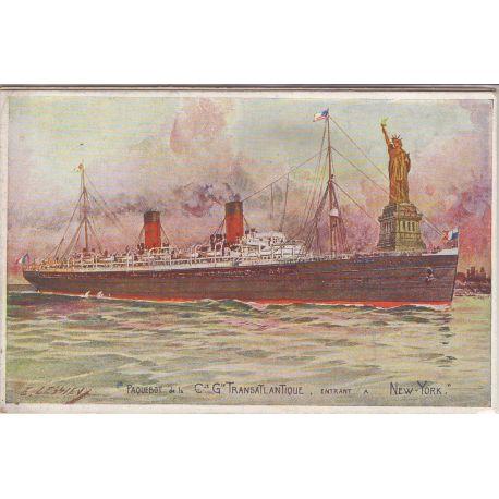Paquebot de la Cie Gle Transatlantique entrant a New-York