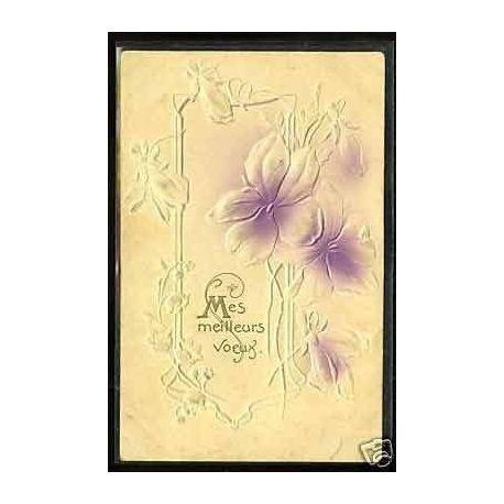 Bouquet de fleurs - Carte en Relief - Art deco