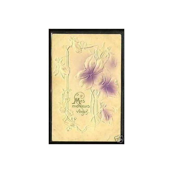 bouquet de fleurs carte en relief art deco. Black Bedroom Furniture Sets. Home Design Ideas