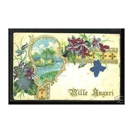 Fleurs - Mille Auguri - Carte en relief