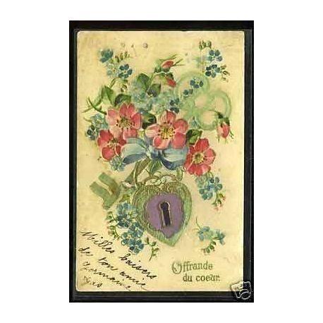 Fleurs Coeur et cle - Carte en Relief