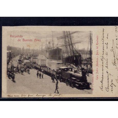 Argentine - Recuerdo de Buenos Aires - Calle Pedro Mendoza - Boca del Riachuelo - 1903 - Train - Bateaux - Animee