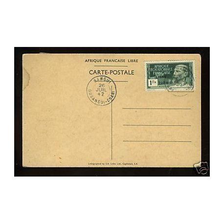 A.E.F Libre - N° 140A sur carte postale Gal. De Gaulle