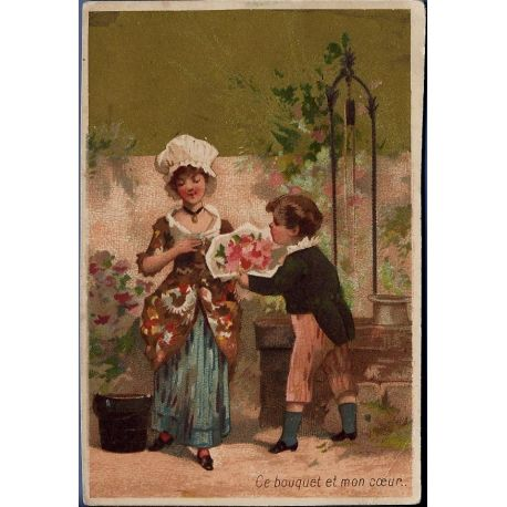 Chromo - Couple d'enfants - Ce bouyquet et mon coeur - Bon etat - 11 c