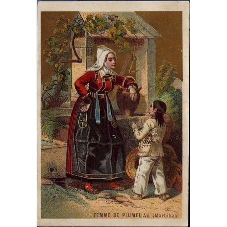 Chromo - Femme de Plumeliau au puits - Morbihan - Bon etat - 12 cm x 8
