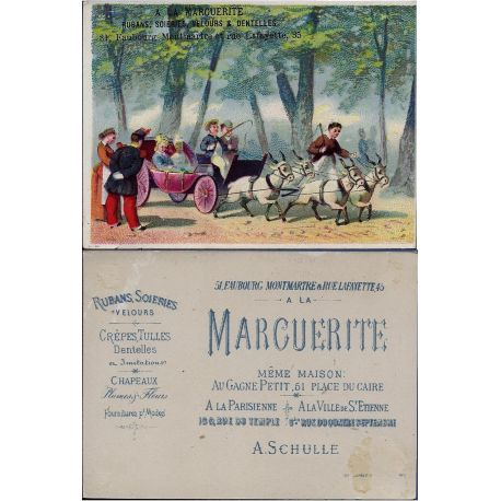 Chromo - A la marguerite - Voiture a chevres au bois de boulogne - Bon