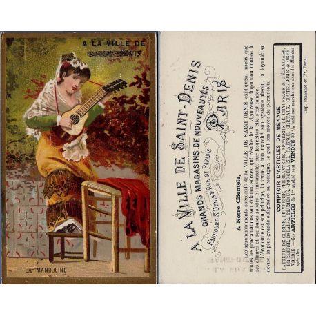 Chromo - A la ville de St Denis - La mandoline - Bon etat - 10.5 cm x