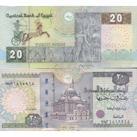 Billets de collection Billets de banque Egypte Pk n° 65 - 20 Pounds Billets d'Egypte 13,00 €