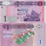 Colección de billetes Libia Pick número 76 - 1 Dinar
