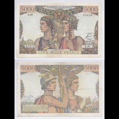 Billets banque France - 5000 Francs 1949 Terre & Mer TTB