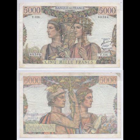 France : Billet de 5000 Francs 1952 - Terre & Mer - TTB