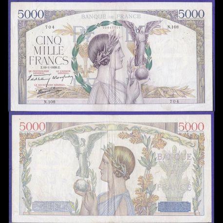 Billets banque France - 5000 Francs 1939 Victoire TTB/SUP