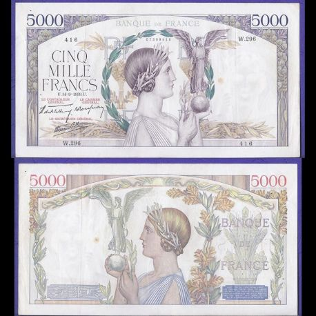 Billets collection France - 5000 Francs 1939 Victoire TTB/SUP