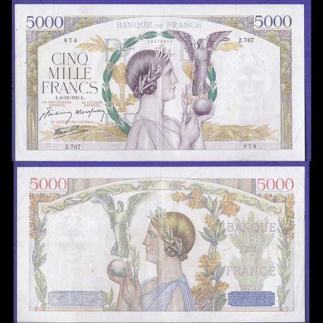 France : Billet de 5000 Francs 1939 - Victoire - TTB/SUP