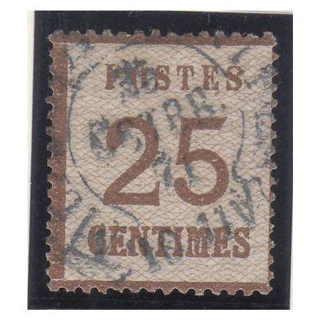 Timbre France Alsace-Lorraine - N° 7 -25c brun-noir - TB - Obl