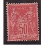 Timbre France N° 98 - 50c rose - TB - *