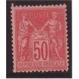 Stamp France N ° 98 - 50c Rose - Unused (hinged)