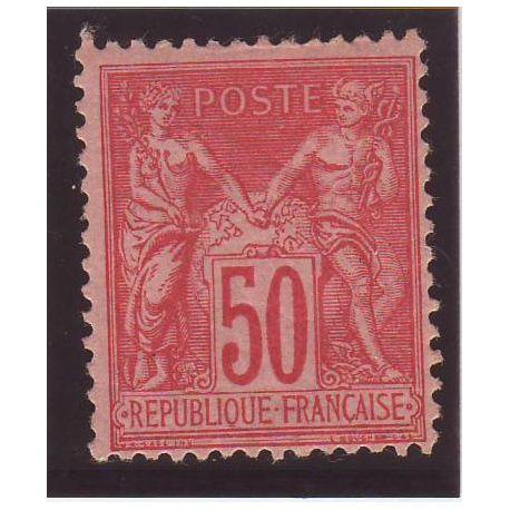 Timbre France N° 98 - 50c rose - TB - *