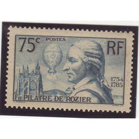 Timbre France N° 313 - 75c bleu-vert - Francois Pilatre de Rozier - TB - **