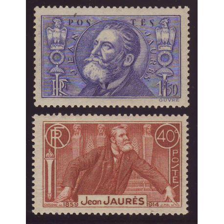 Timbre France N° 318 et 319-22eme anniversaire de la mort de Jean Jaures-TB - **