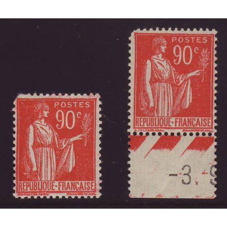 Timbre France N° 285 en 2 exemplaires - 90c rouge carmine - TB - **