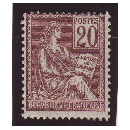 Timbre France N° 113 - 20c brun-lilas - Type mouchon - TB **