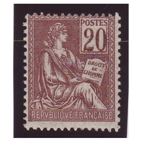 France N° 113 - 20c brun-lilas - Type mouchon - TB **