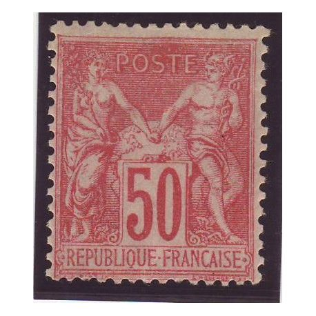 Timbre France N° 104 - 50c rose - Type Sage - TB - *