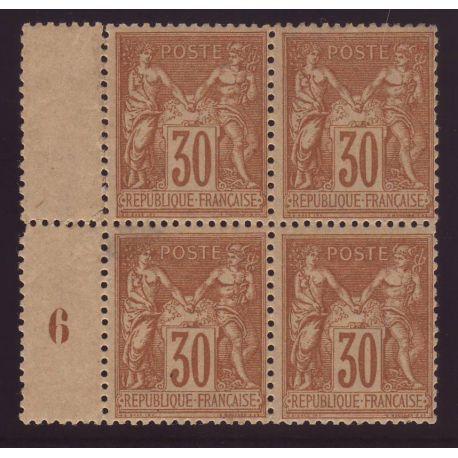 Timbre France N° 80 en bloc de 4 - Leger aminci sur 1 timbre - *