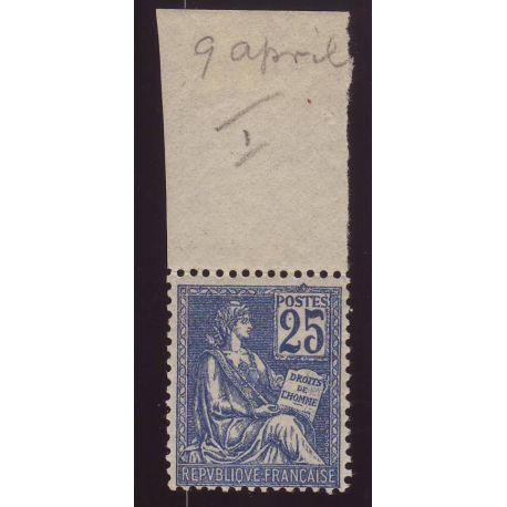 Timbre France N° 114 - 25c bleu avec bord de feuille - TB - **