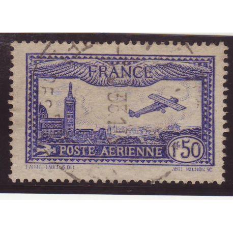 Timbre poste aérienne France N° 6b - 1f50 outremer vif - TB - Obl