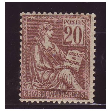 Timbre France N° 113 - 20c brun-lilas - Type Mouchon - TB - **