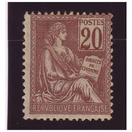 France N° 113 - 20c brun-lilas - Type Mouchon - TB - **