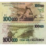 Schone Banknote Brasilien Pick Nummer 235 - 100000 Cruzeiro 1990