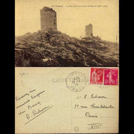 Carte postale 36 - Crozant - La tour Colin et la tour du Renard