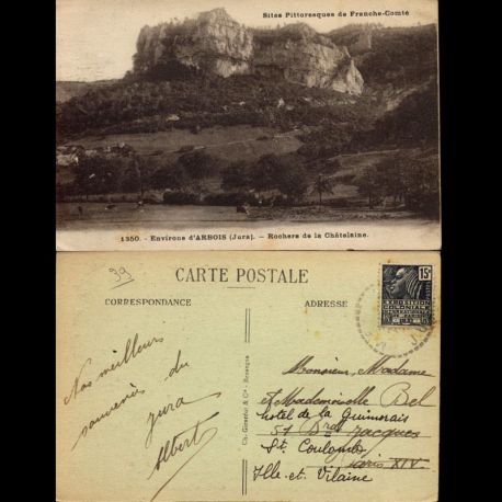 Carte postale 39 - Environs d'Arbois - Rocher de la Chatelaine